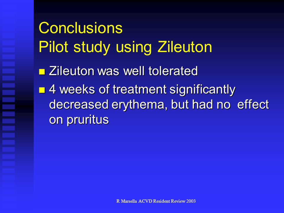 Conclusions Pilot study using Zileuton