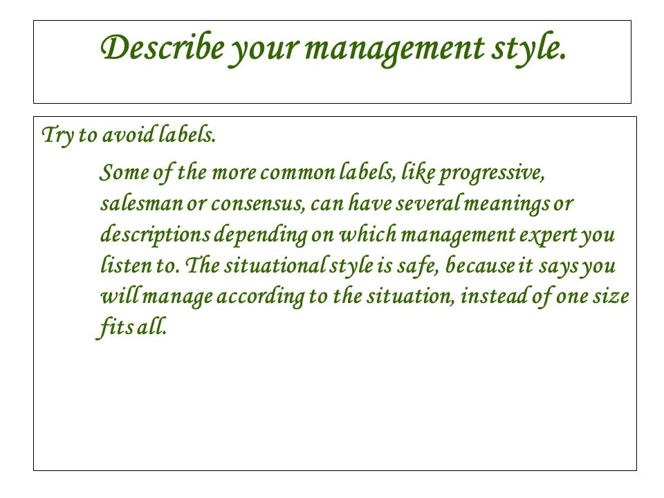 Describe your management style.