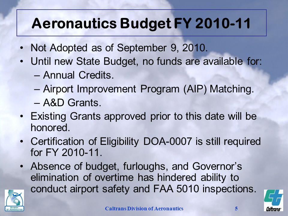 Aeronautics Budget FY 2010-11 Caltrans Division of Aeronautics