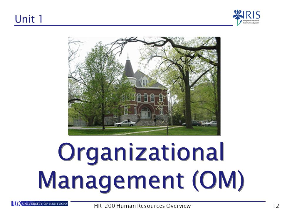Unit 1 Organizational Management (OM)