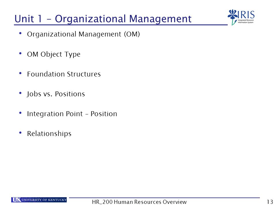 Unit 1 – Organizational Management