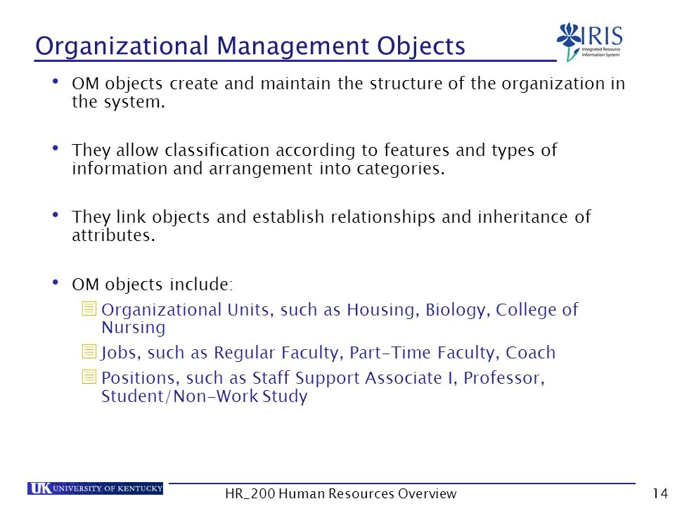 Organizational Management Objects