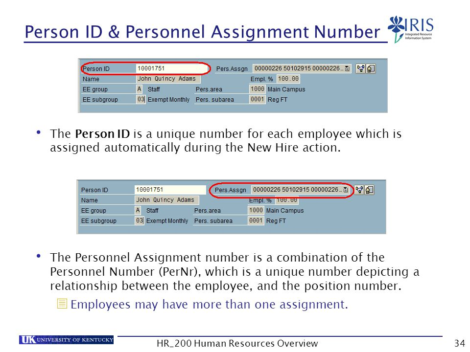 Person ID & Personnel Assignment Number