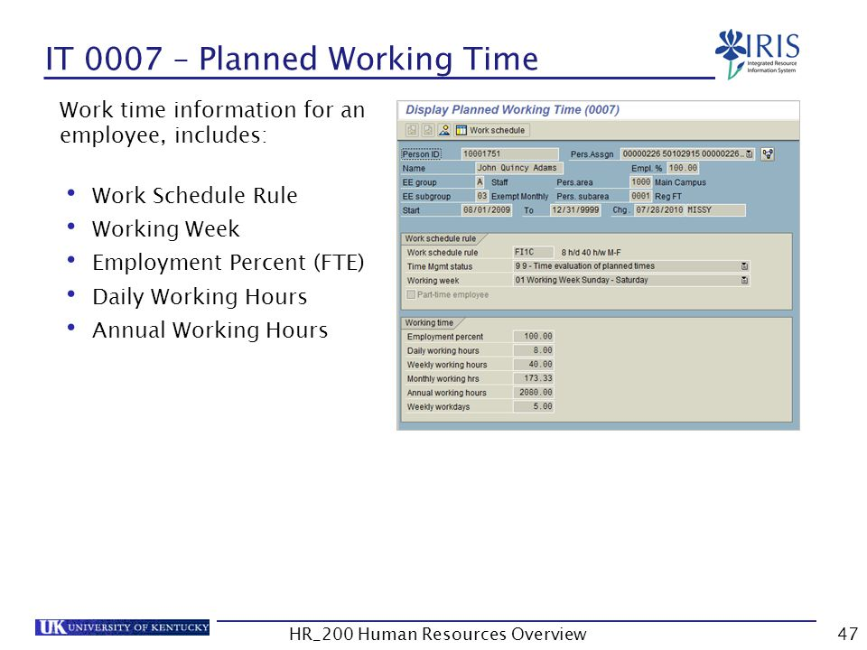 IT 0007 – Planned Working Time