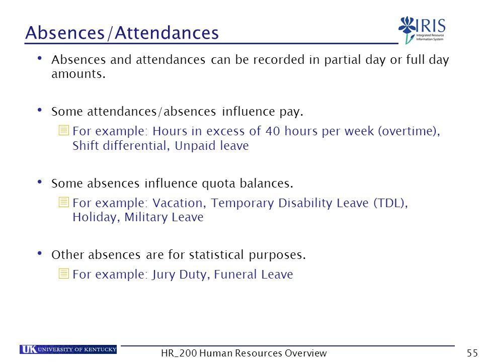 Absences/Attendances