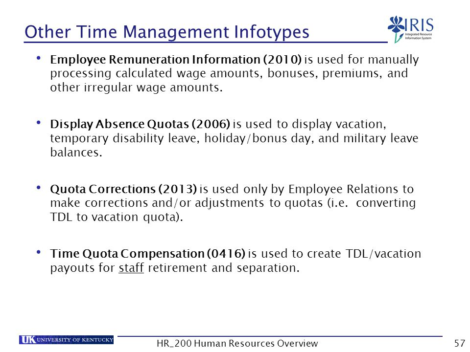 Other Time Management Infotypes