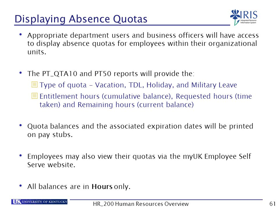 Displaying Absence Quotas