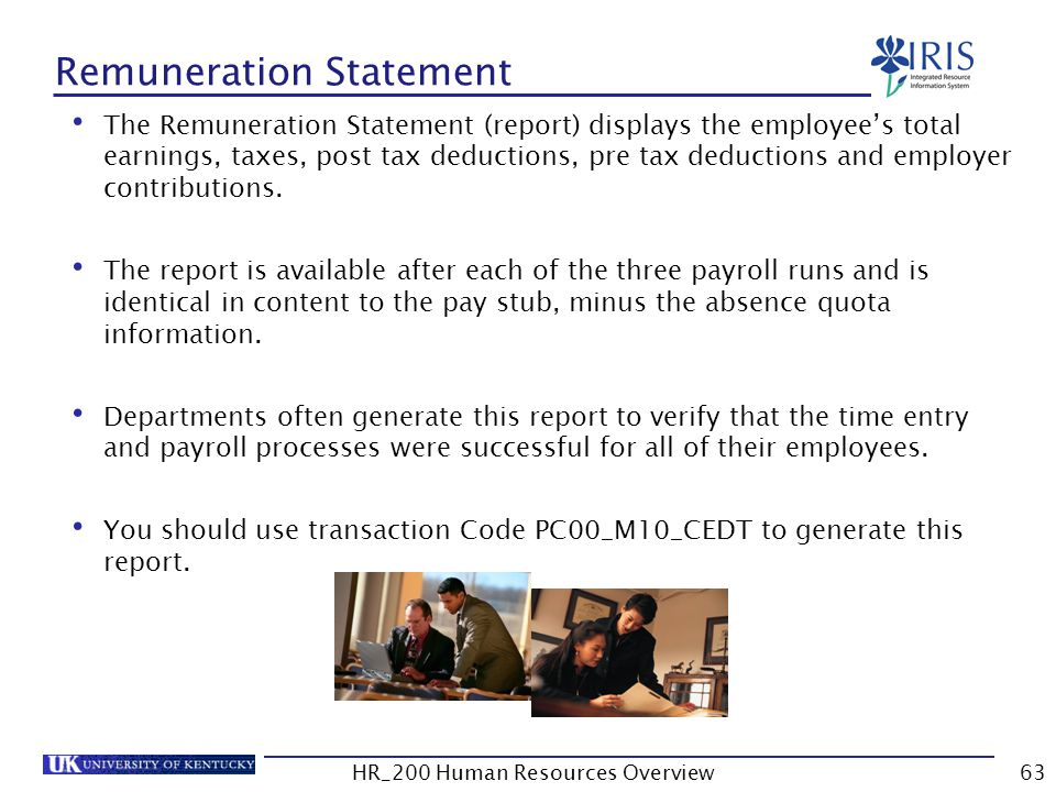 Remuneration Statement