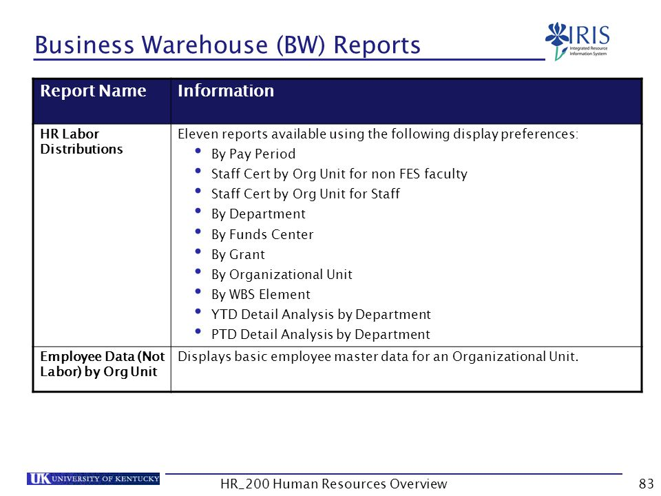 Business Warehouse (BW) Reports