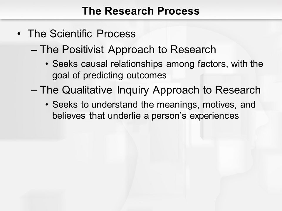 The Scientific Process The Positivist Approach to Research