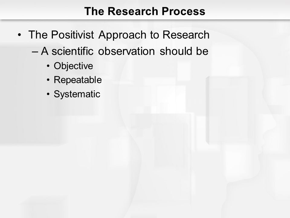 The Positivist Approach to Research A scientific observation should be