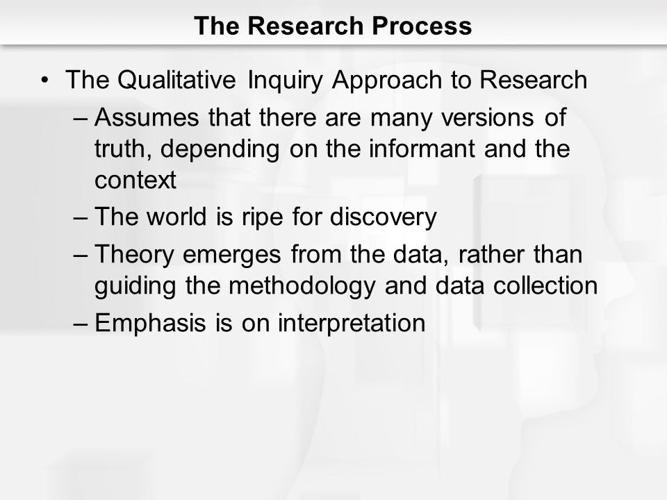 The Research Process The Qualitative Inquiry Approach to Research.