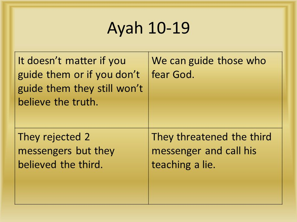 Ayah 10-19 It doesn't matter if you guide them or if you don't guide them they still won't believe the truth.