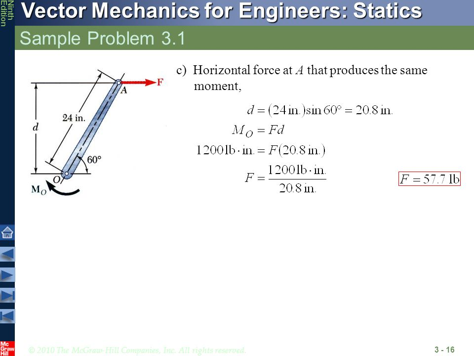 Sample Problem 3.1 c) Horizontal force at A that produces the same moment,
