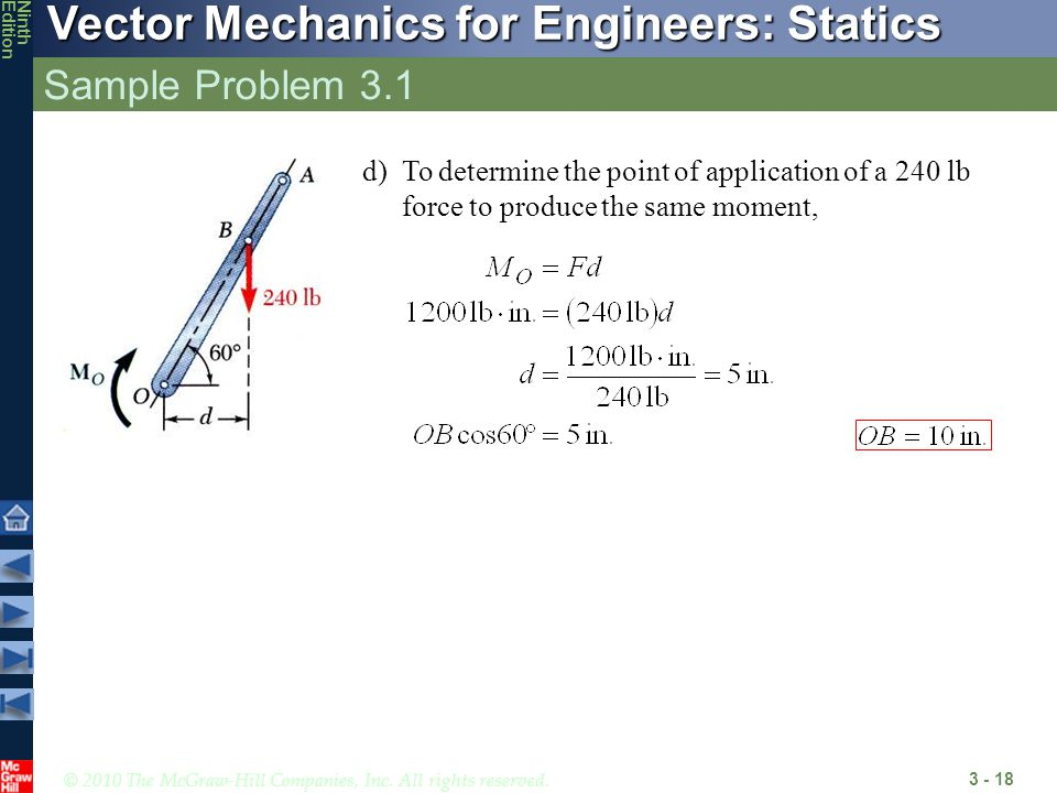Sample Problem 3.1 d) To determine the point of application of a 240 lb force to produce the same moment,