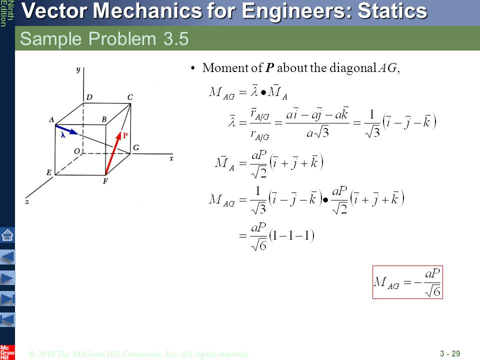 Sample Problem 3.5 Moment of P about the diagonal AG,