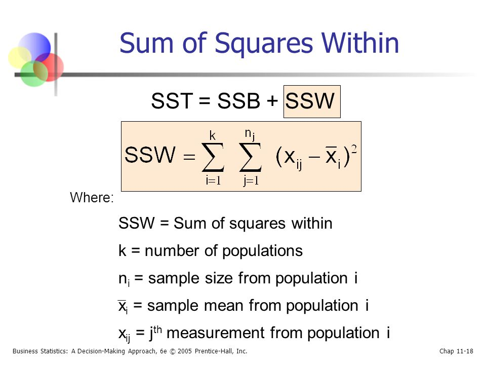 Sum of Squares Within SST = SSB + SSW k = number of populations