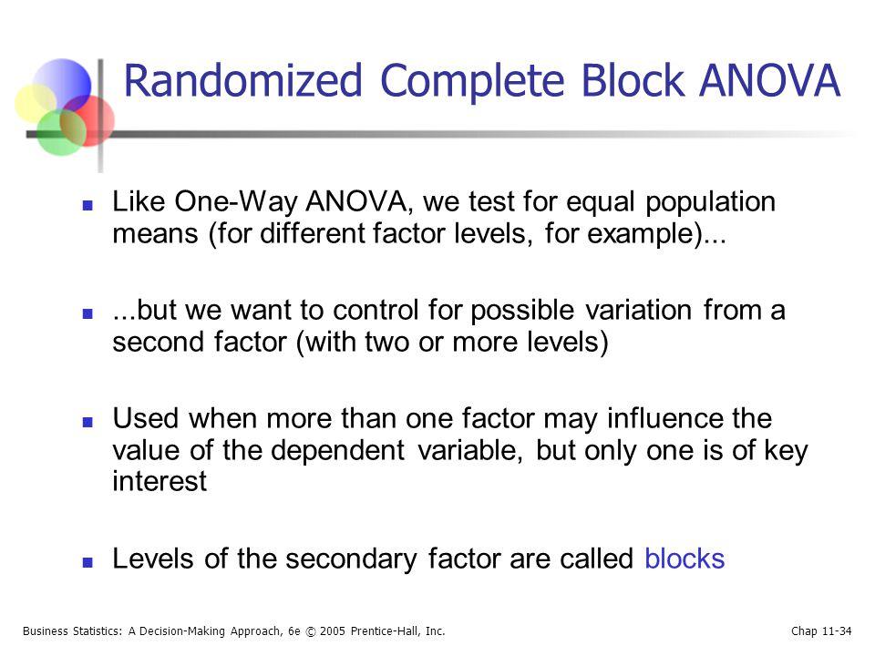 Randomized Complete Block ANOVA