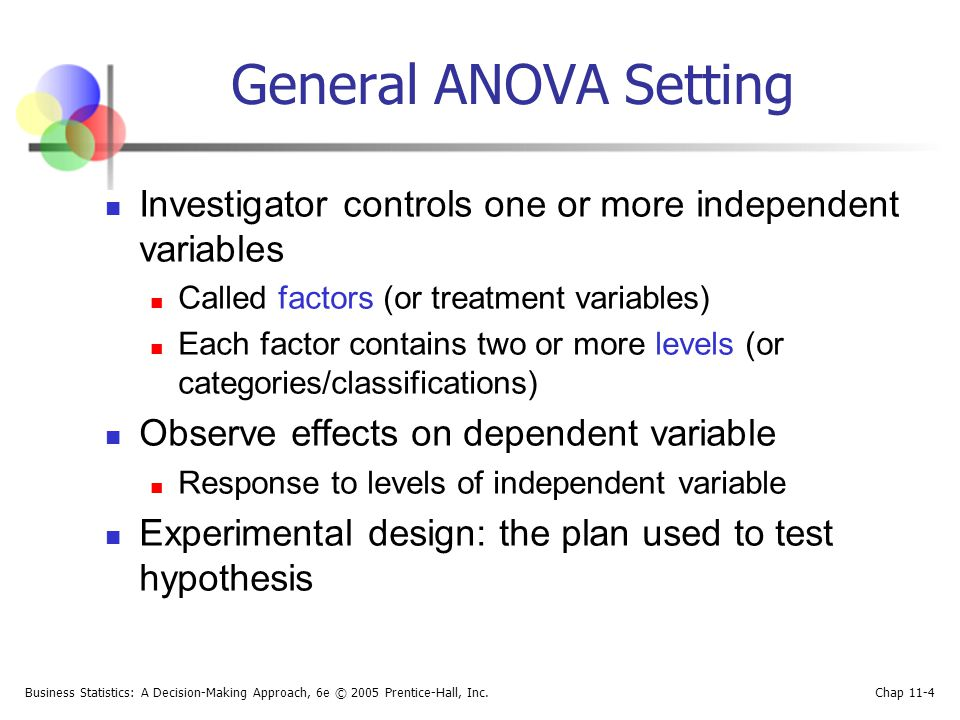General ANOVA Setting Investigator controls one or more independent variables. Called factors (or treatment variables)