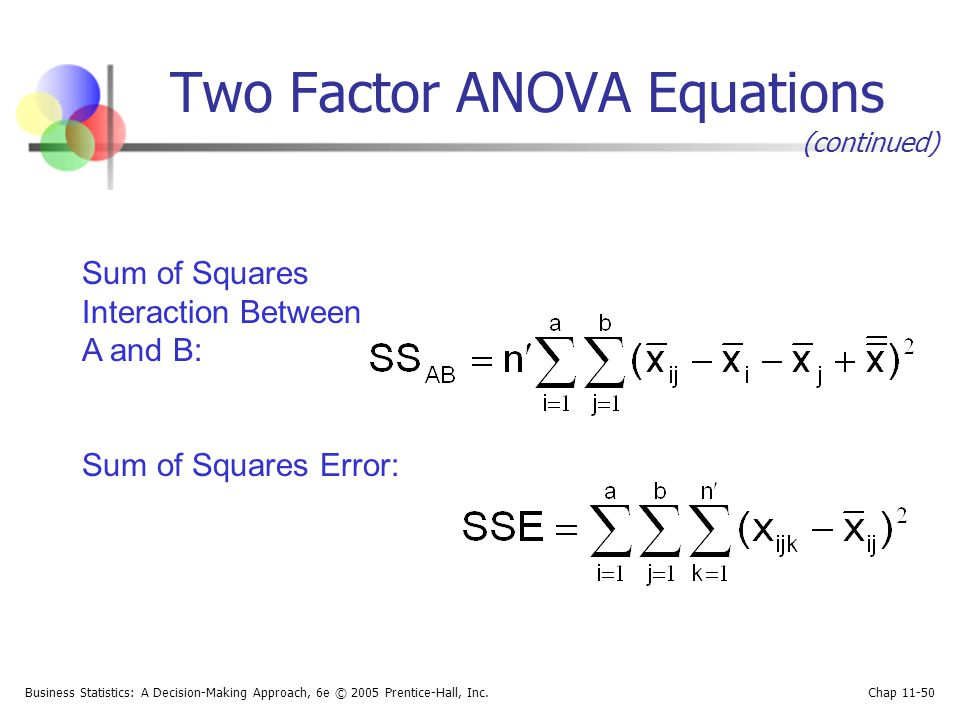 Two Factor ANOVA Equations