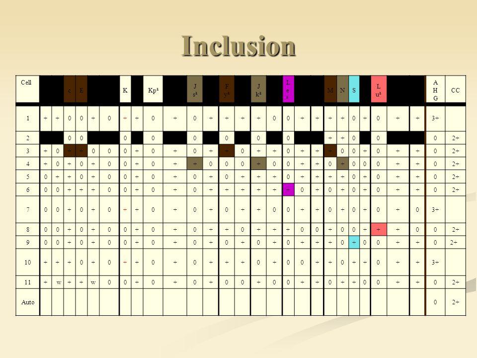 Inclusion Cell. D. C. c. E. e. Cw. K. k. Kpa. Kpb. J. sa. sb. F. ya. yb. ka. kb. L.
