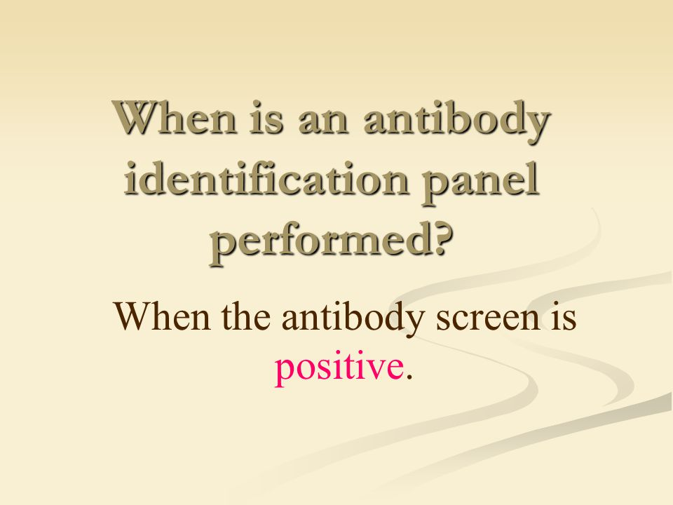 When is an antibody identification panel performed