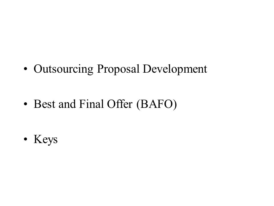 Outsourcing Proposal Development