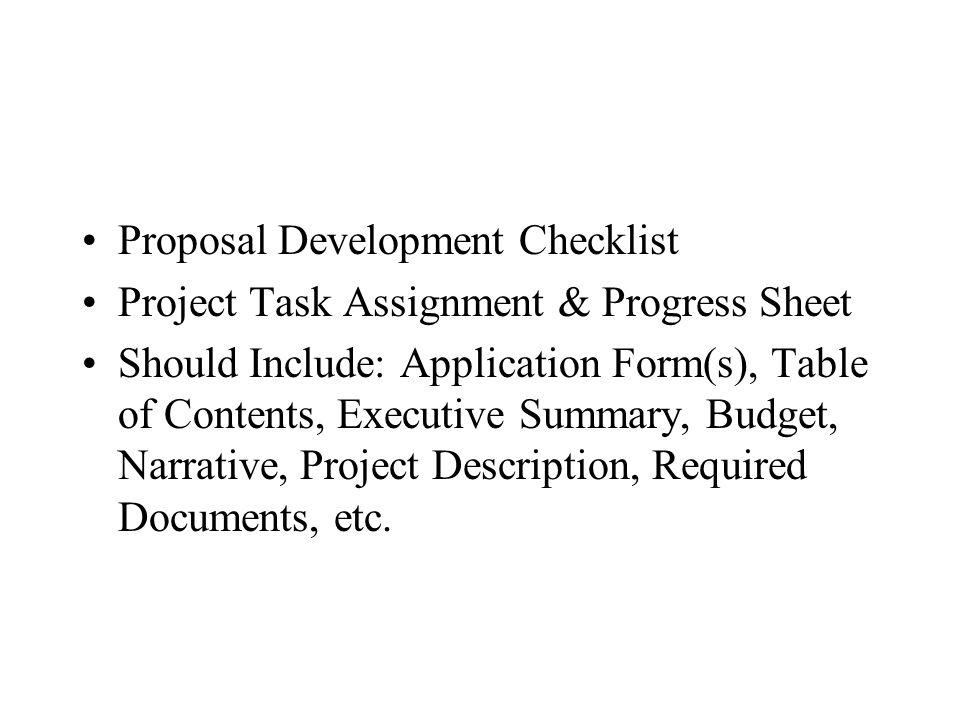 Proposal Development Checklist