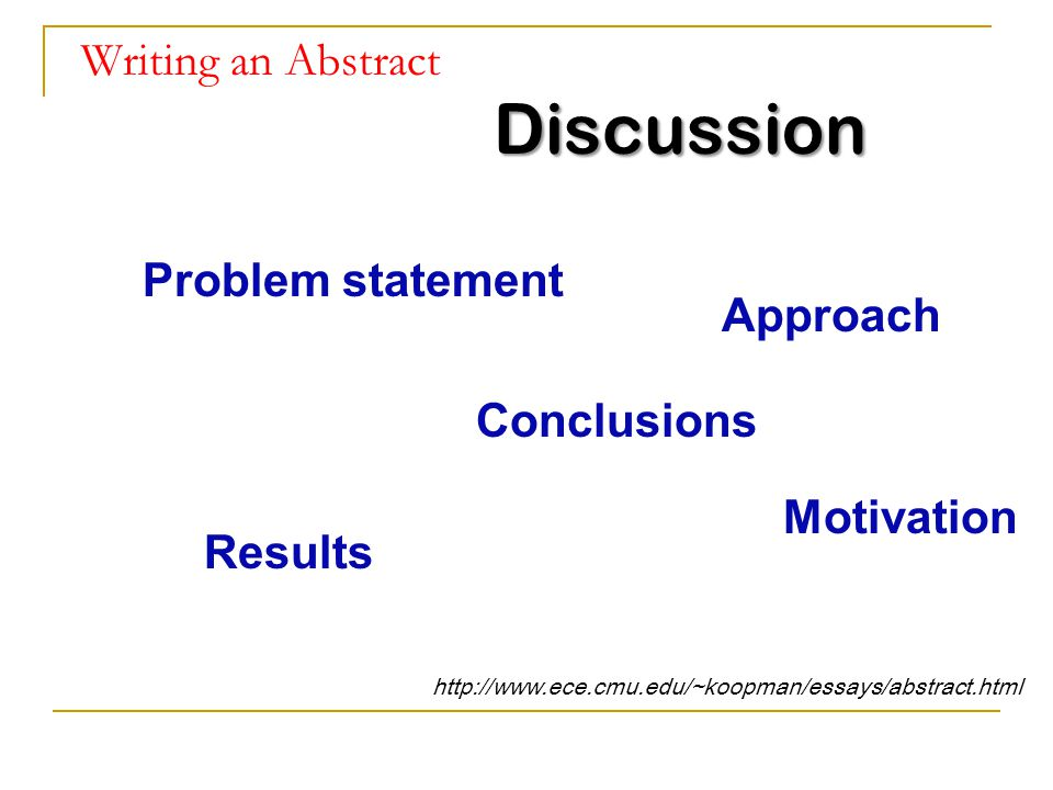 Discussion Writing an Abstract Problem statement Approach Conclusions