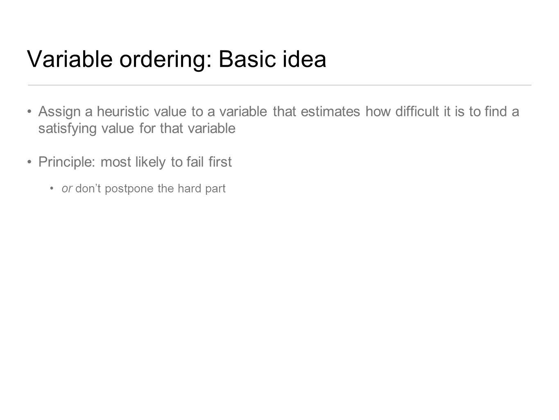 Variable ordering: Basic idea