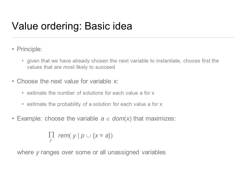 Value ordering: Basic idea