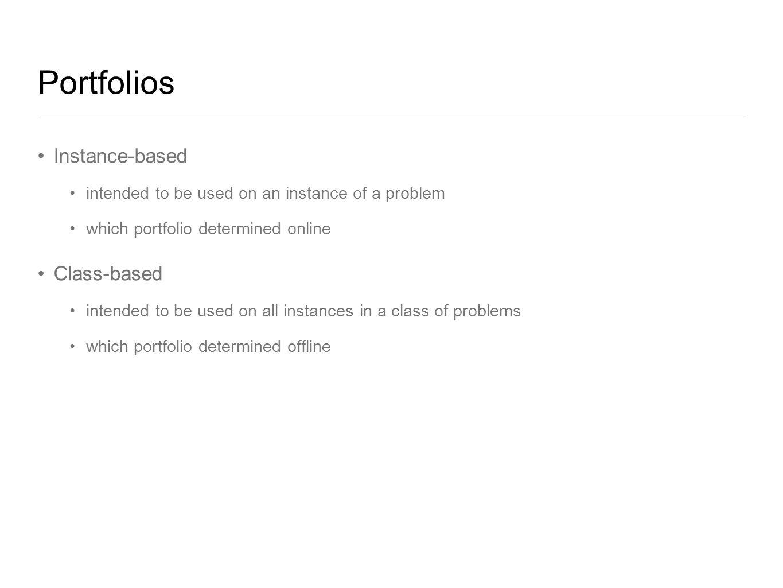 Portfolios Instance-based Class-based