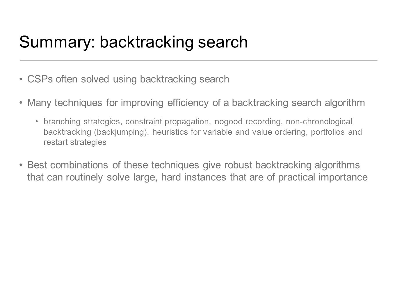 Summary: backtracking search