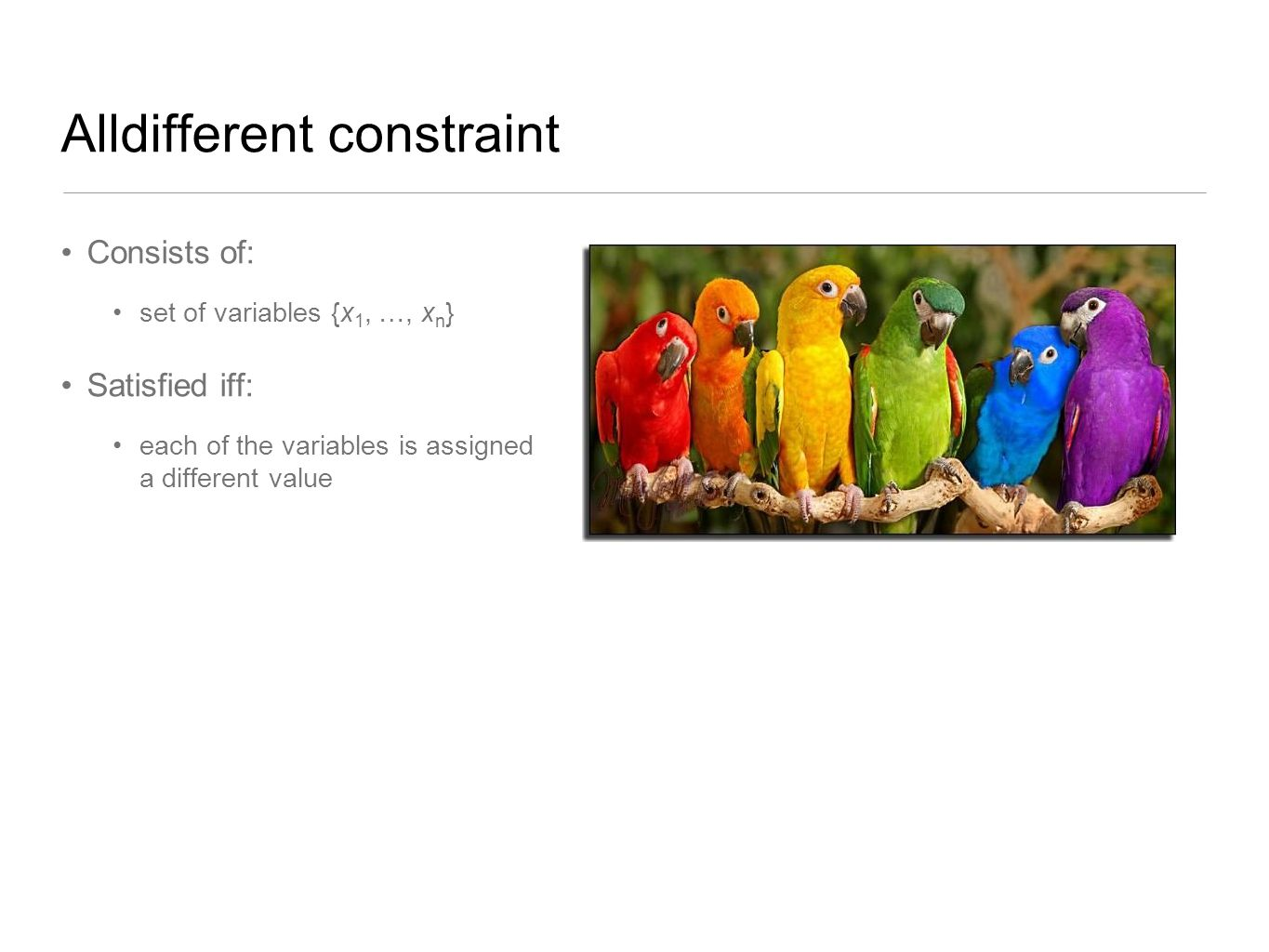 Alldifferent constraint