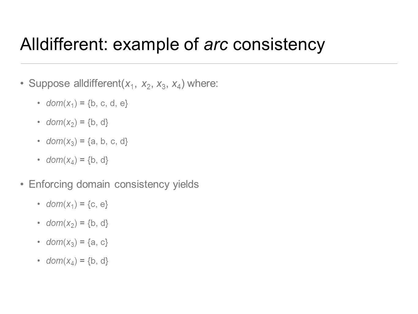 Alldifferent: example of arc consistency