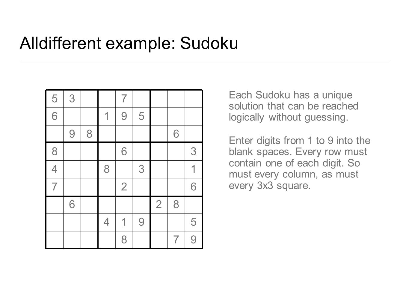 Alldifferent example: Sudoku