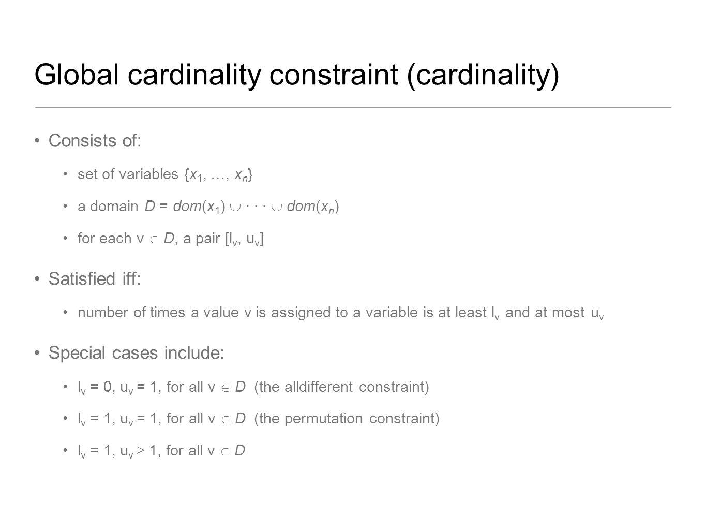 Global cardinality constraint (cardinality)