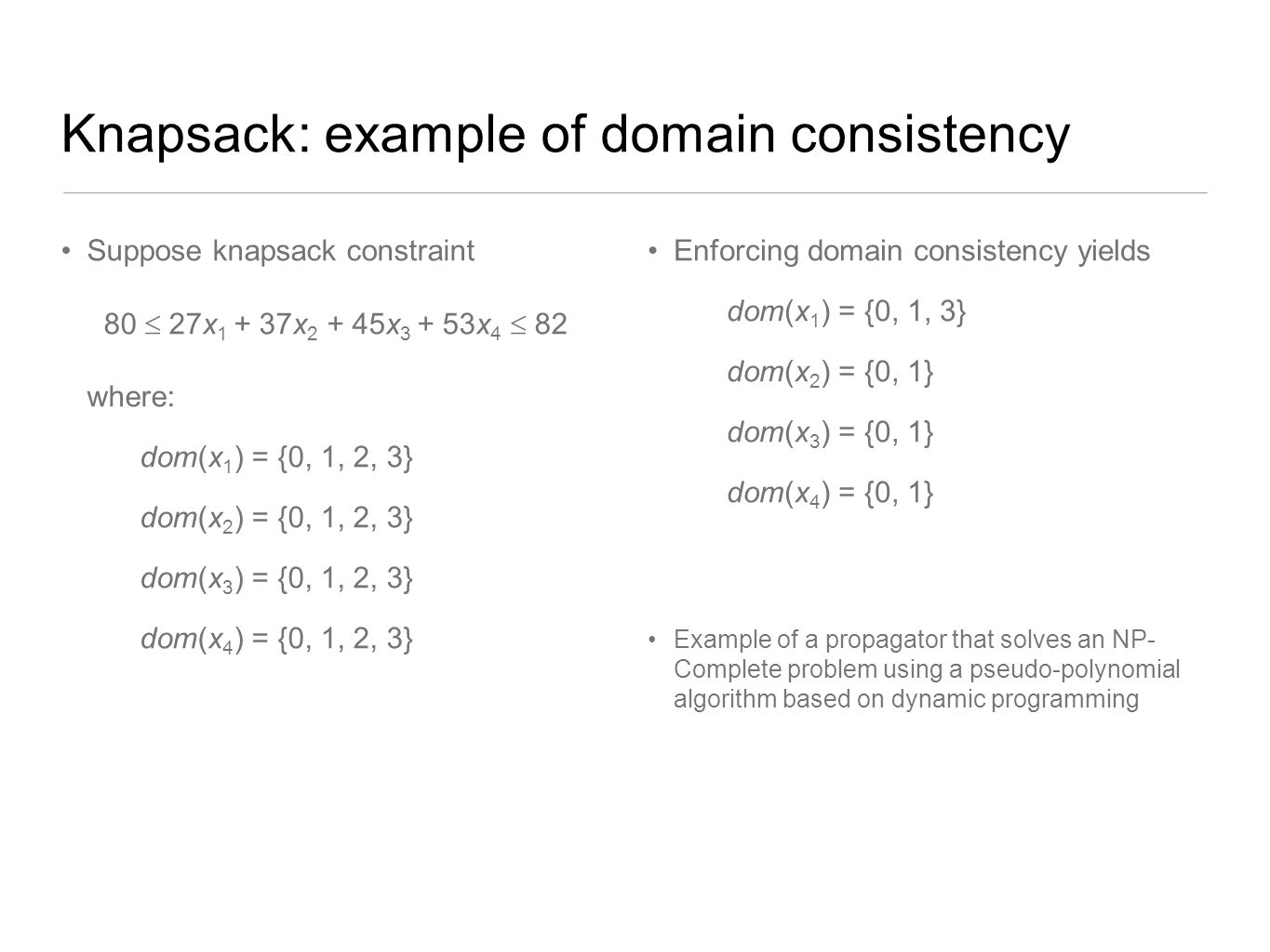 Knapsack: example of domain consistency