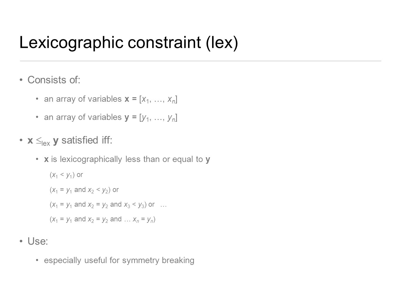 Lexicographic constraint (lex)