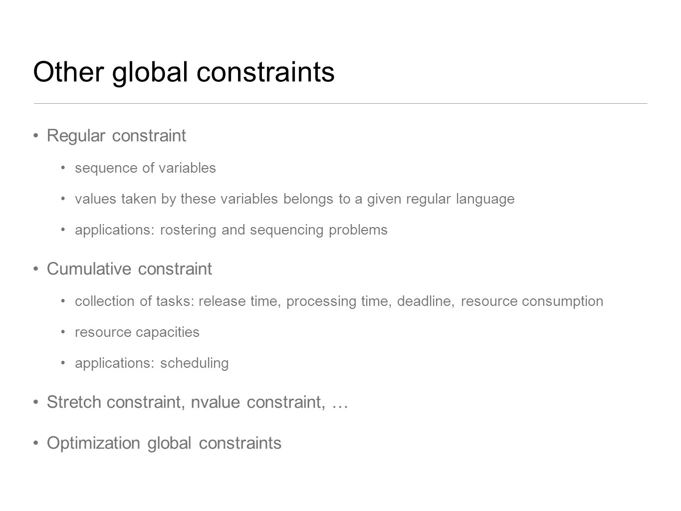 Other global constraints