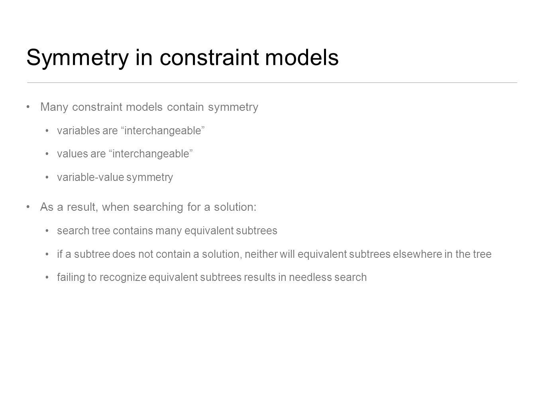 Symmetry in constraint models