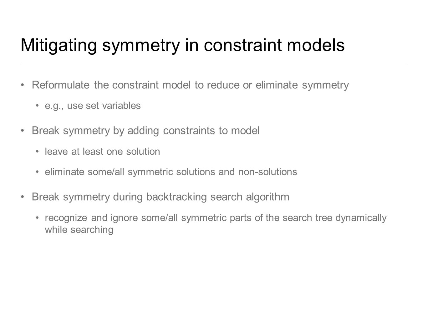 Mitigating symmetry in constraint models