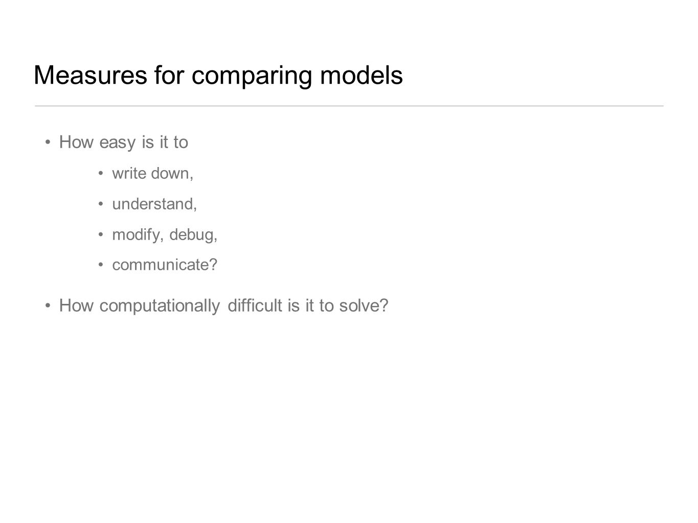Measures for comparing models