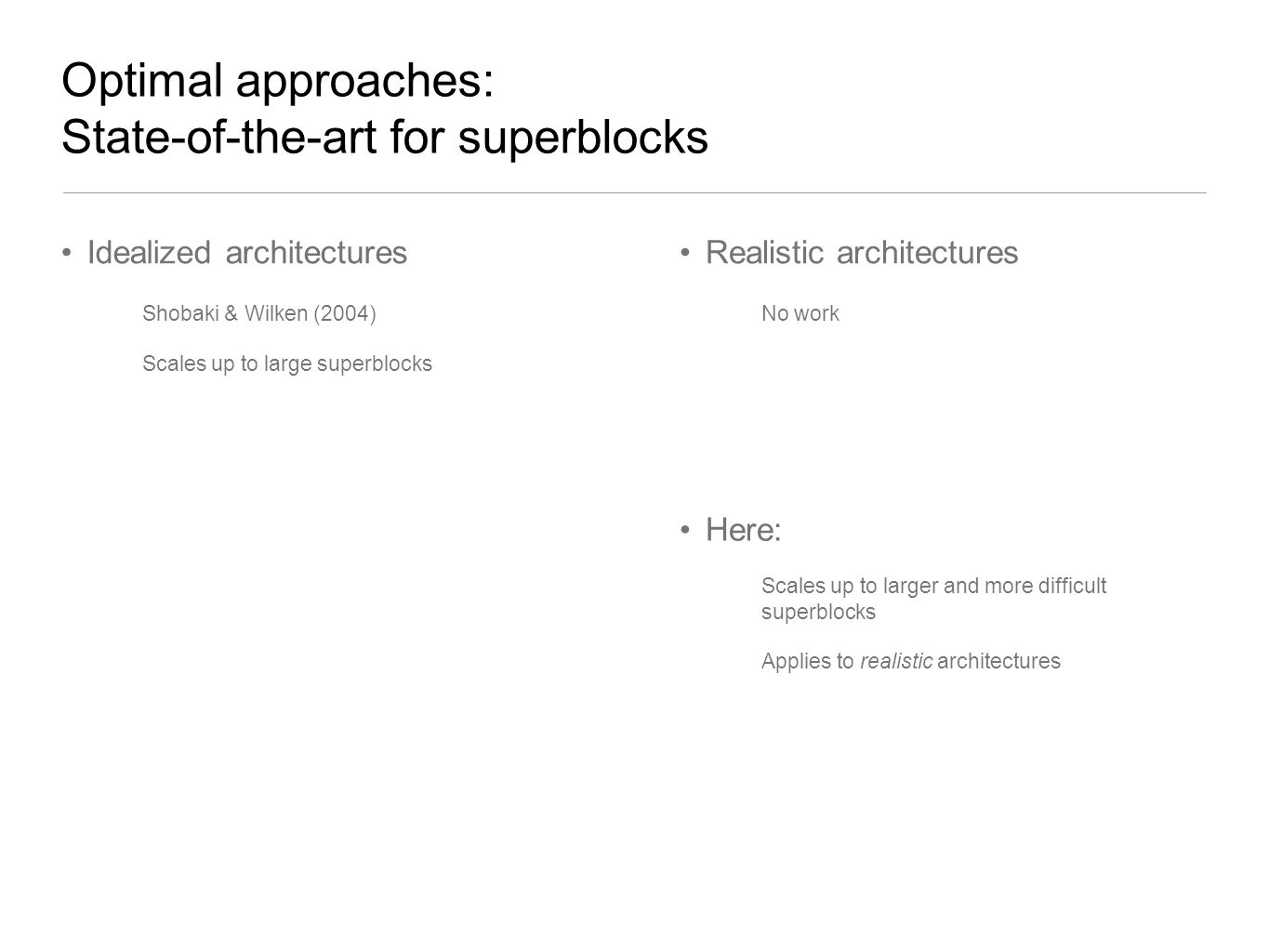 Optimal approaches: State-of-the-art for superblocks
