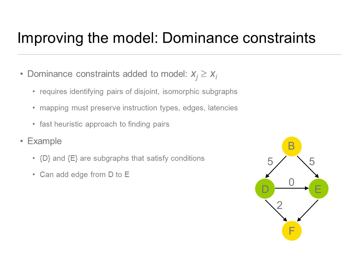 Improving the model: Dominance constraints