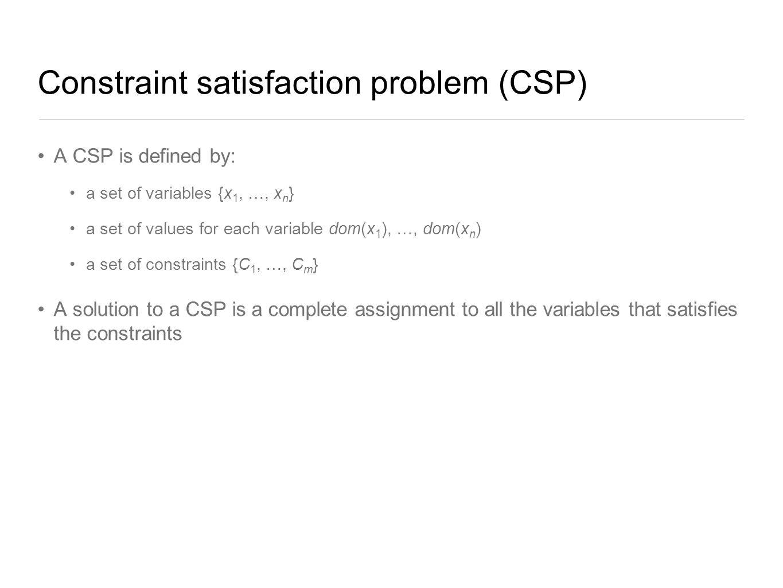 Constraint satisfaction problem (CSP)