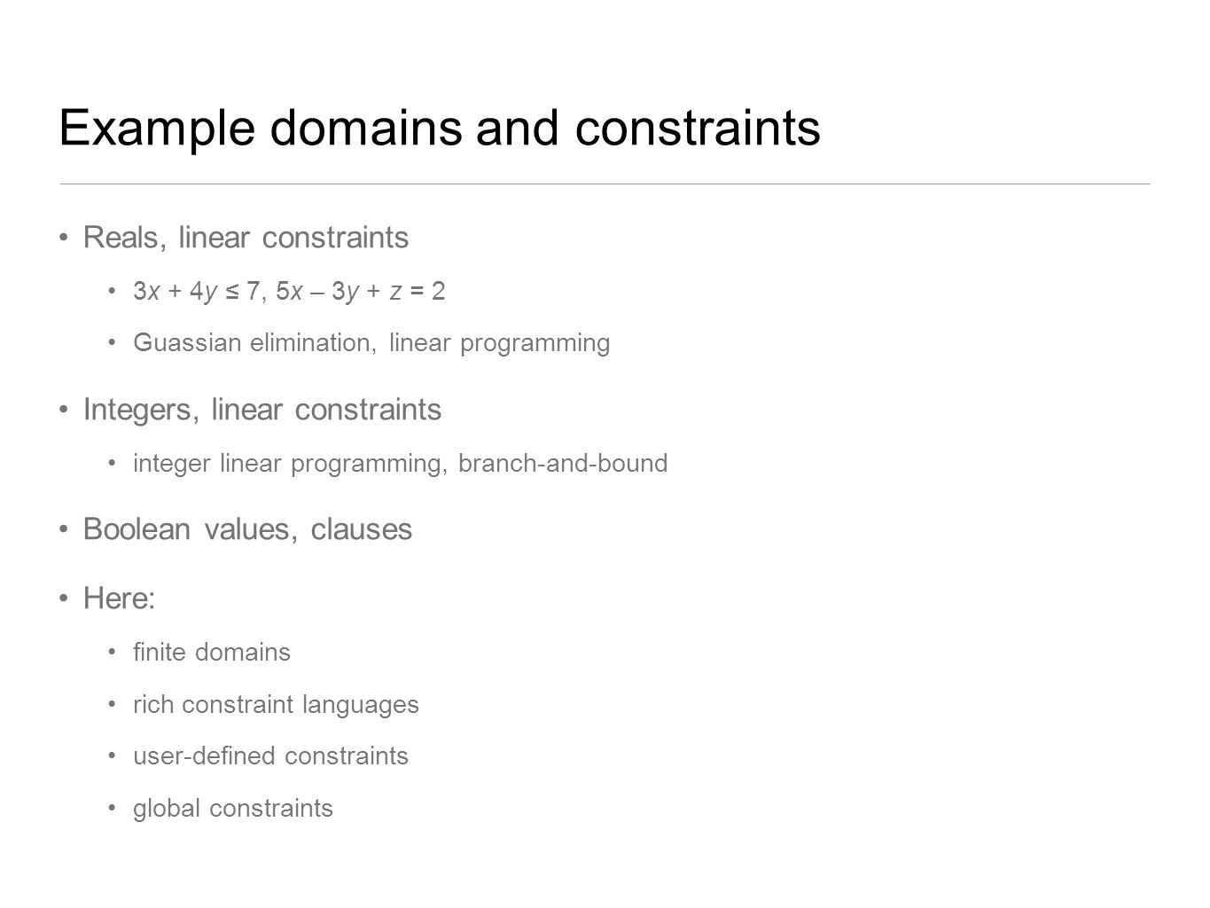 Example domains and constraints