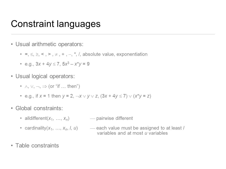 Constraint languages Usual arithmetic operators: