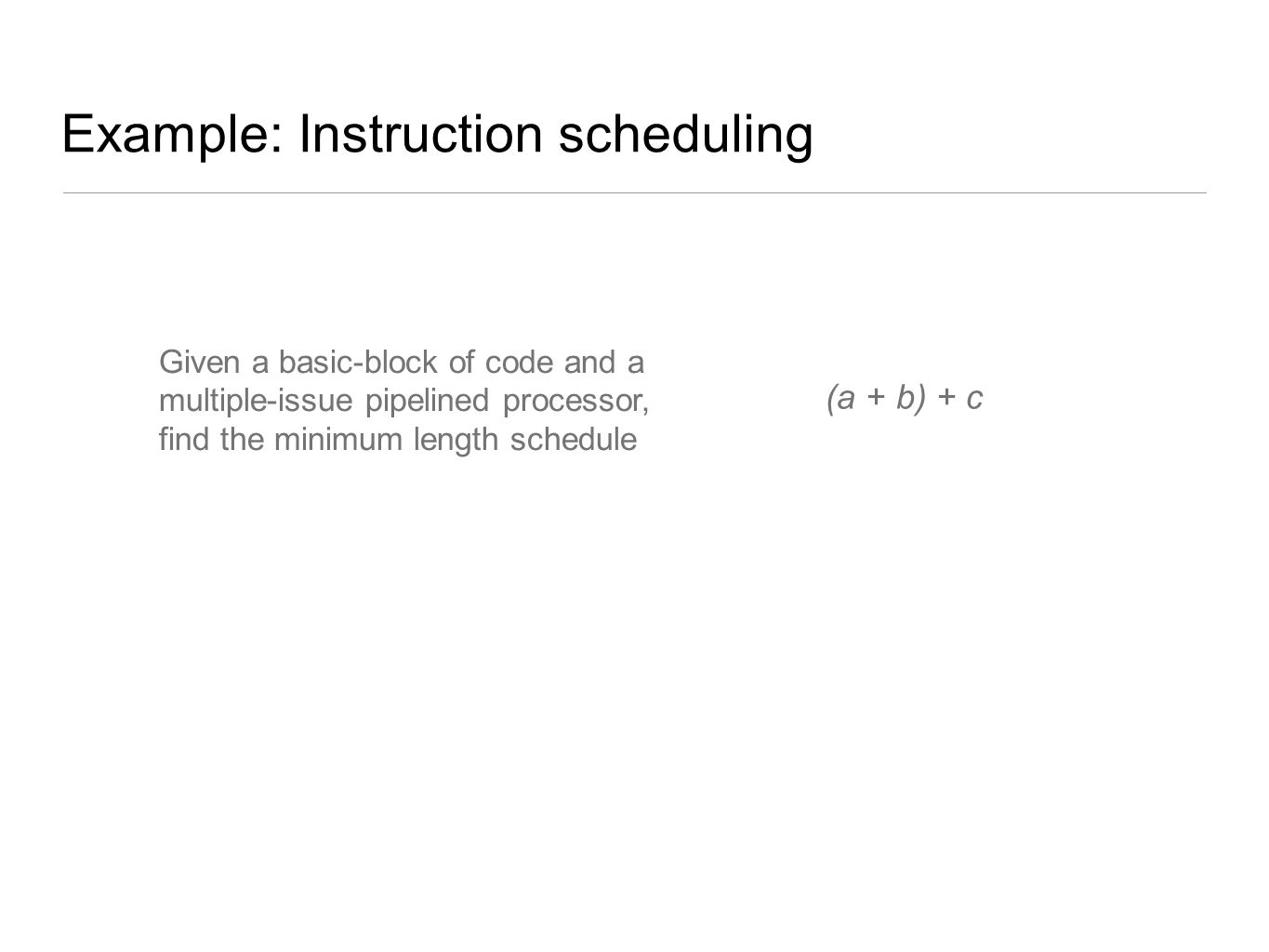 Example: Instruction scheduling