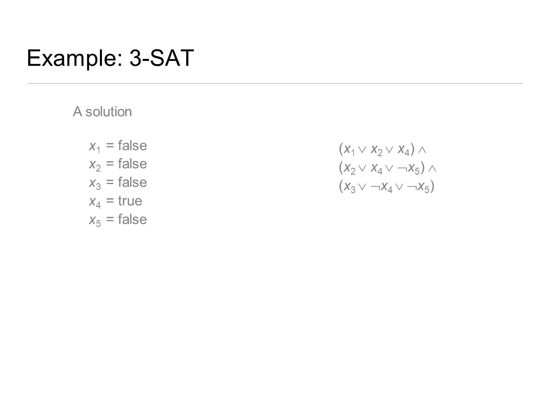 Example: 3-SAT A solution x1 = false x2 = false x3 = false